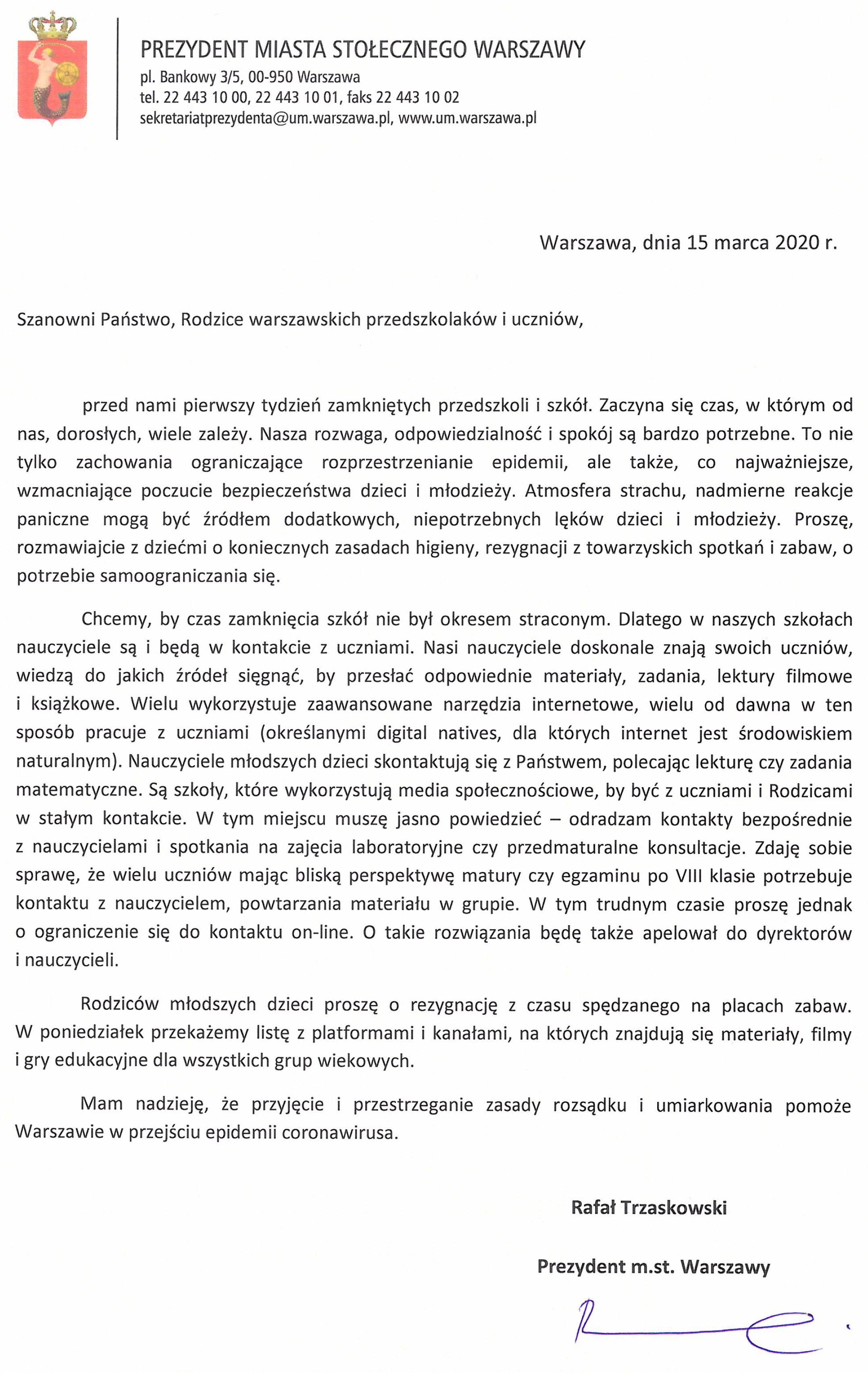 List do Rodziców od Prezydenta m. st. Warszawa